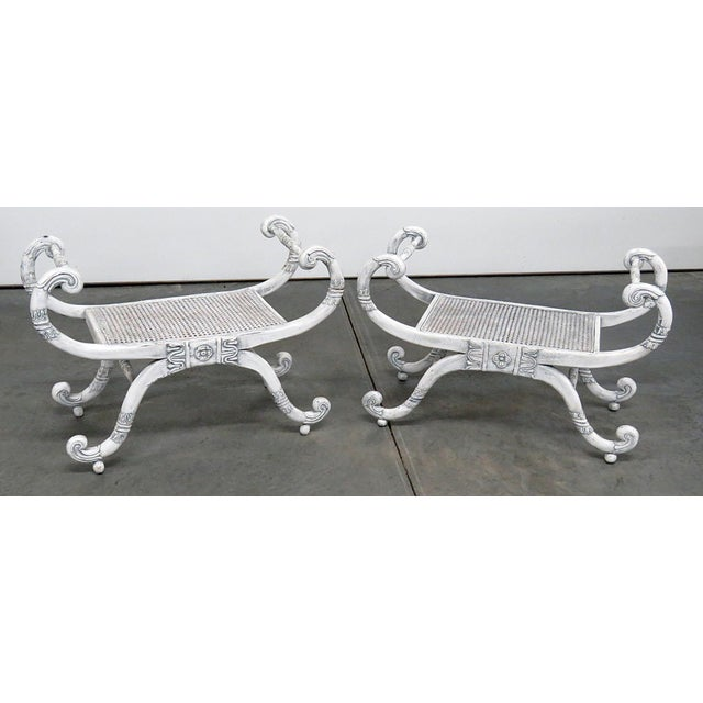 White Distressed Painted Curule Benches - a Pair For Sale - Image 8 of 8