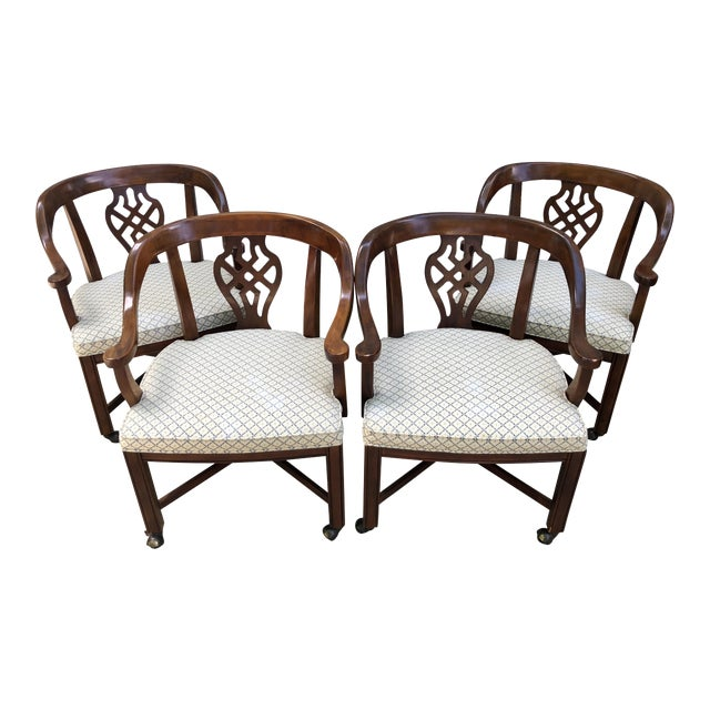 Drexel Heritage Chippendale Horseshoe Dining Chairs on Casters- Set of 4 For Sale