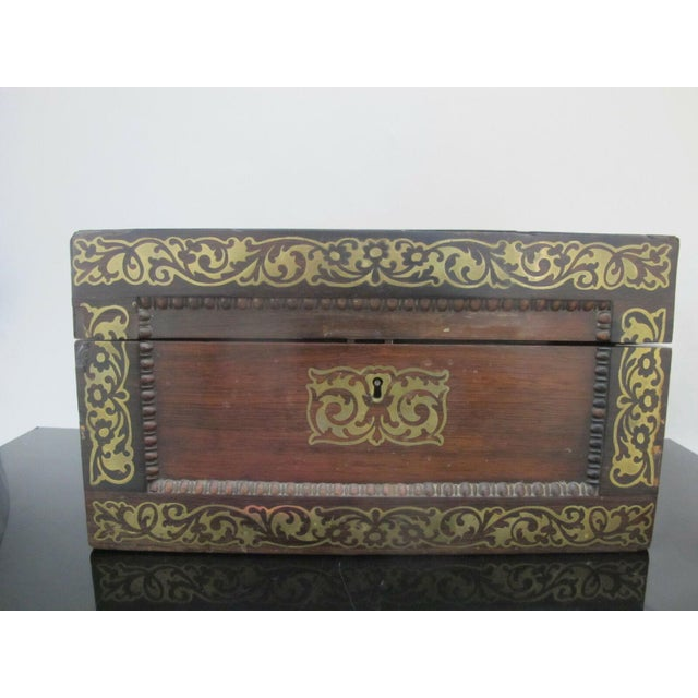 Antique, 19th century, wood vanity box with gold floral detail. Box has working key, unlock and lid opens to 6 glass jars...