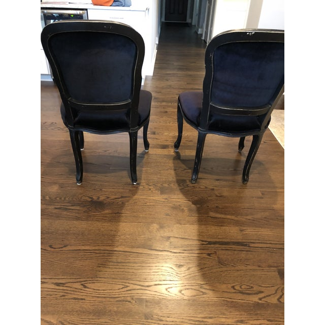 2000s Traditional French Black Velvet Side Chairs - a Pair For Sale - Image 5 of 10