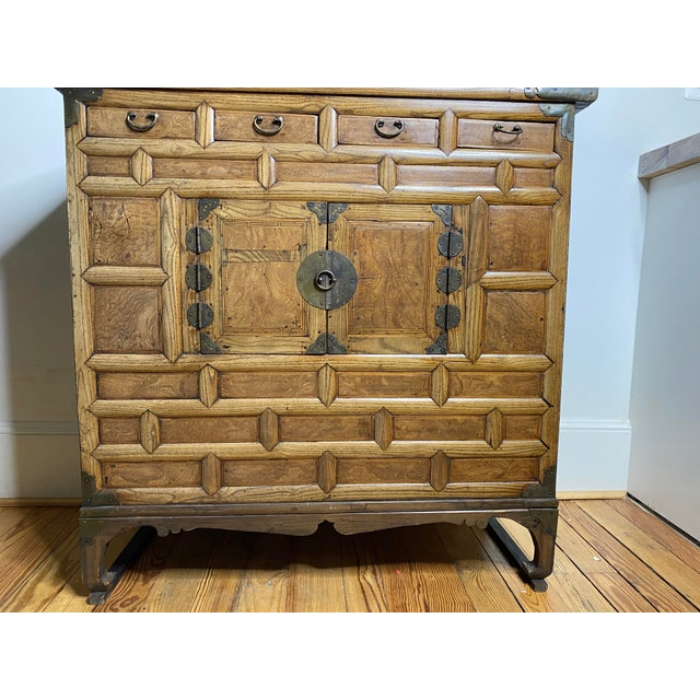 Spectacular antique Japanese Burlewood Tansu chest with four drawers across top, two cupboard doors on base and hand...