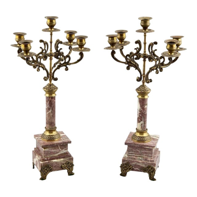 French 19th C. Brass & Marble Candelabras - A Pair For Sale