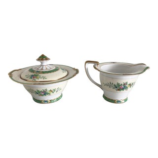 "1940s Noritake China ""Leandro"" Covered Sugar Bowl & Creamer Set - a Pair For Sale"