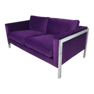 1970's Mid-Century Modern Milo Baughman Chrome and Purple Velvet Loveseat
