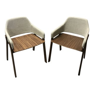 Modern Blue Dot Light Gray Clutch Chairs- A Pair For Sale
