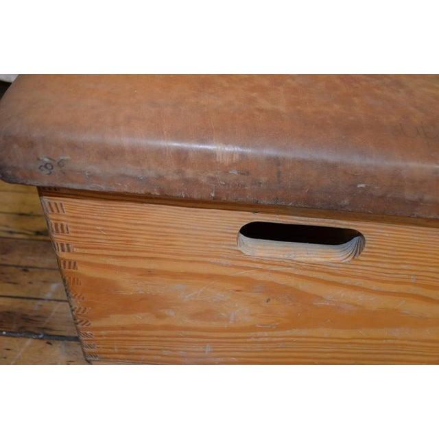 Animal Skin Vintage German Gymnast Leather Top Bench For Sale - Image 7 of 9