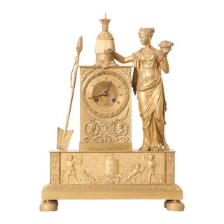 Victor Cacheaux Napoleonic Empire Gilt-Bronze Mantel Clock For Sale