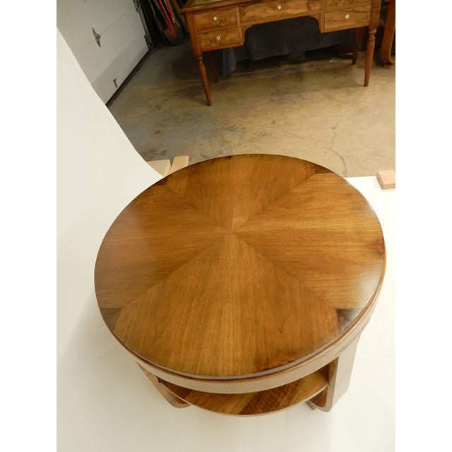 Art Deco Round Walnut Side Table For Sale - Image 9 of 10