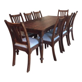 British Colonial Style Dining Table & Side Chairs - Dining Table