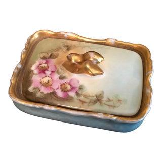 Antique Limoge Porcelain Dresser Box For Sale