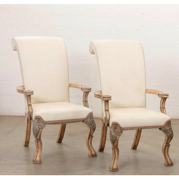 18th C Style Carved Italian Perugian Arm Chairs For Sale - Image 4 of 4