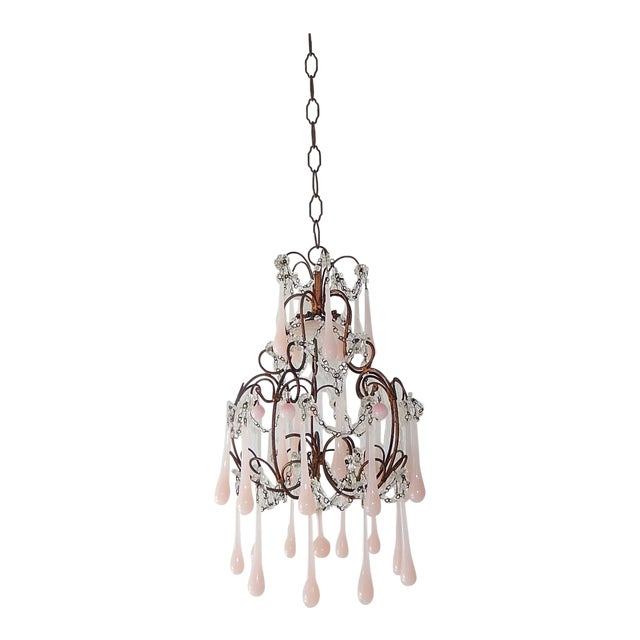 French Pink Opaline Murano Drops Chandelier, circa 1920 For Sale