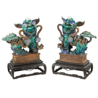 Spectacular Large Chinese Glazed Stoneware Foo Dog Statues on Carved Stands - a Pair For Sale