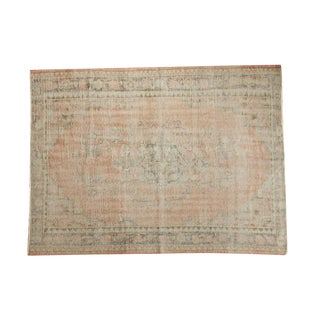 "Vintage Distressed Oushak Carpet - 5'5"" X 7'2"" For Sale"