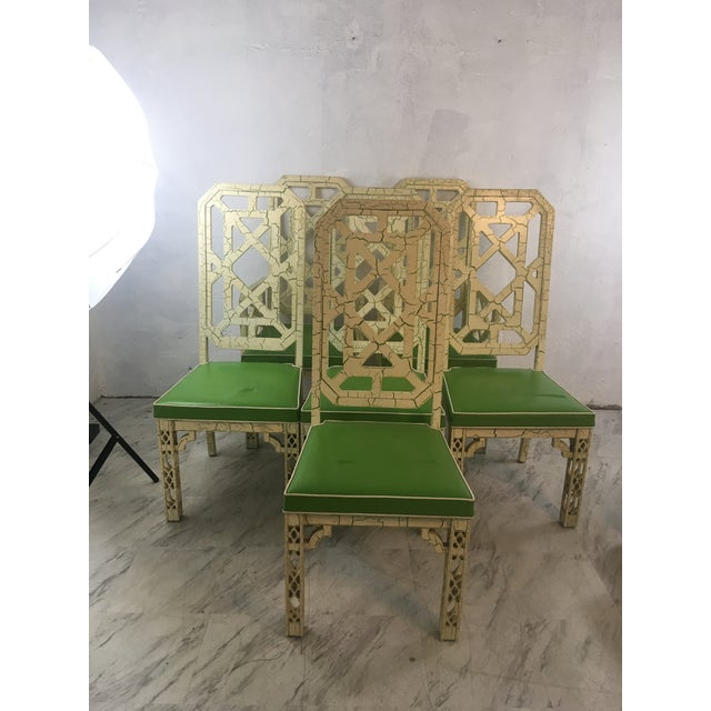 Green Palm Beach Style Chinoiserie Dining Chairs, Set of Six For Sale - Image 8 of 12