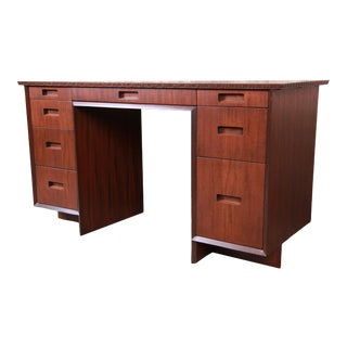 Frank Lloyd Wright Taliesin Mahogany Double Pedestal Desk, Newly Restored For Sale