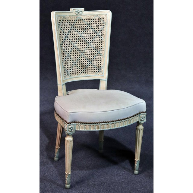 Off-white Set of 8 French Louis XVI Style Caned Back Dining Chairs For Sale - Image 8 of 13