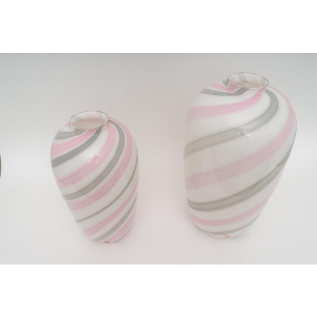 Contemporary 1980s Itri Vetri Striped Swirl Murano Glass Vases - a Pair For Sale - Image 3 of 6