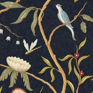 "Lewis & Wood Adam's Eden Ebony Extra Wide 51"" Botanic Style Wallpaper For Sale"