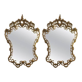 Ornate Rococo Style Solid Brass Console or Pier Mirrors - A Pair