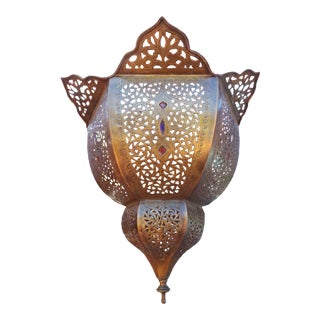 Moroccan Brass Pendant For Sale