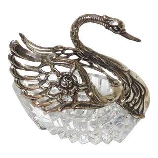 Sterling Silver & Hand Cut Crystal Swan Master Salt Cellar For Sale