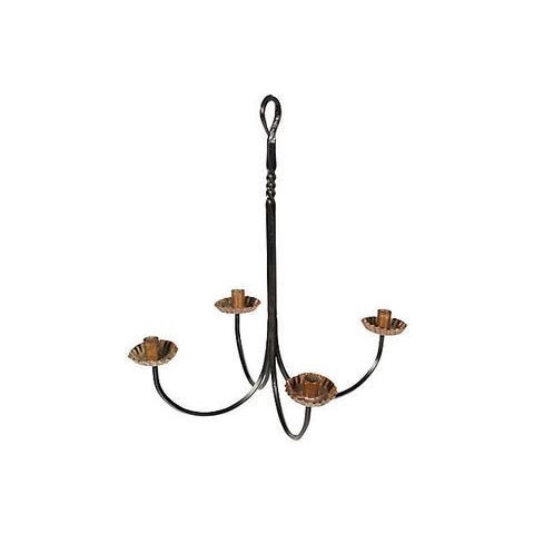 Wrought iron and copper accented hanging candleholder. Unmarked.
