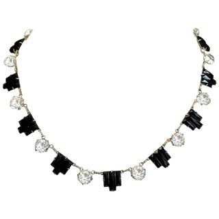 1920s Art Deco Molded Black Glass & Faceted Crystal Choker Necklace For Sale