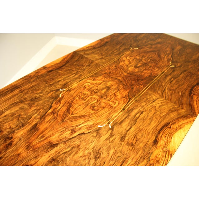 Brass 1940s French Art Deco Exotic Burl Walnut Writing Desk / Dining Table For Sale - Image 7 of 13