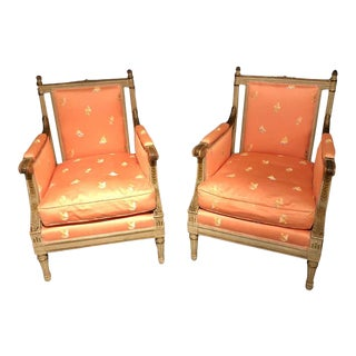 Pair of Louis XVI Style Maison Jansen Armchairs / Bergeres, Distressed Finish For Sale