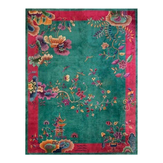 "1920s Antique Art Deco Chinese Rug 9'2"" X 11'8"" For Sale"
