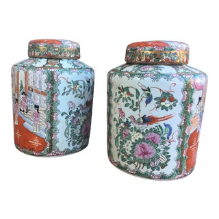 1980s Vintage Hexagonal Ginger Jars - a Pair For Sale