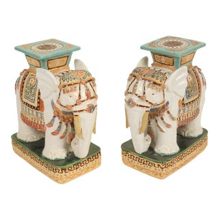 1980s Chinoiserie Polychrome Decorated Stoneware Elephant Form Garden Seats - a Pair For Sale