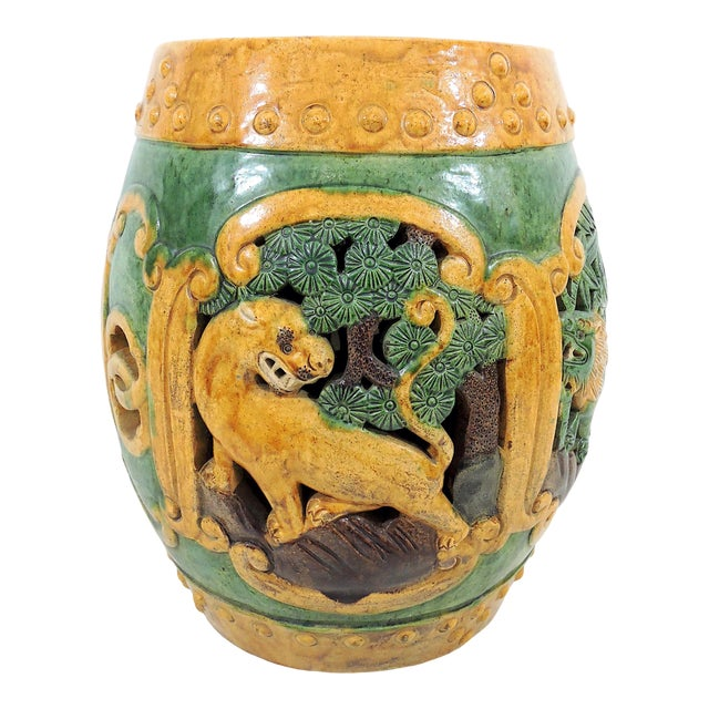 Antique Chinese Sancai Glazed Ceramic Garden / Drum Stool or Side Table (Lion, Camel & Panther) For Sale