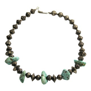 Vintage Estate Jewelry Sterling Silver Bench Bead & Turquoise Nugget Necklace For Sale