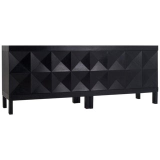 Brutalist Sideboard in Stained Oak With Graphic Door Panels For Sale