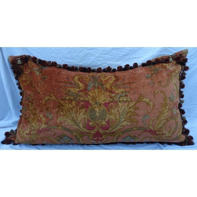 Custom Mohair & Silk Damask Pillow w/ Tassel Fringe by Melissa Levinson For Sale - Image 4 of 10