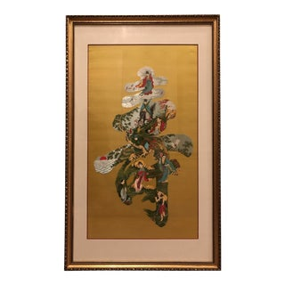 Chinese Embroidered Longevity Yellow Matted and Framed Wall Hanging For Sale