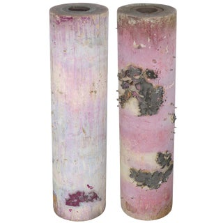French Wallpaper Rollers for Table Lamp Bases -A Pair For Sale
