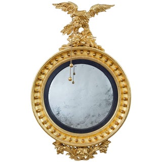 Regency Giltwood Convex Mirror with Eagle For Sale