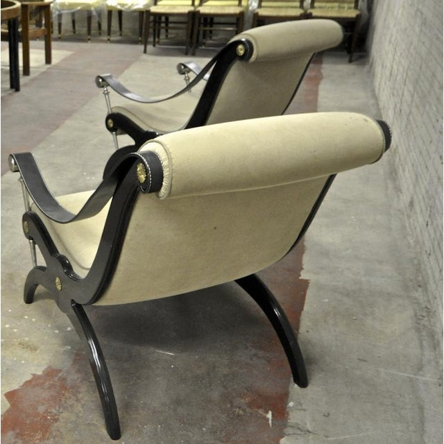 Style of Andre Arbus Pair of Neo Classic Lounge Chairs For Sale - Image 4 of 7