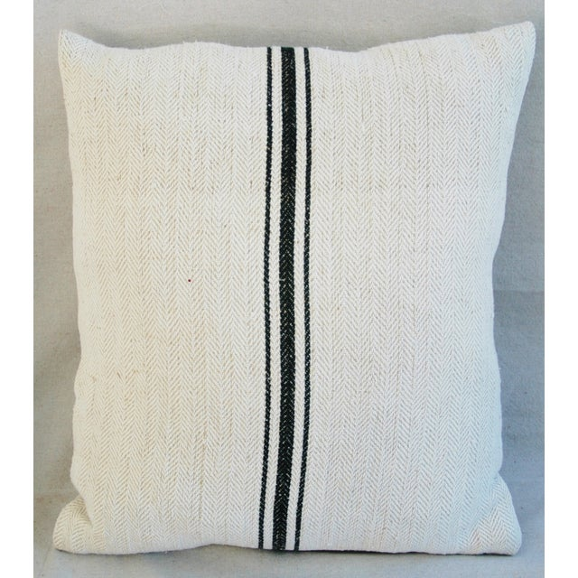 French Grain Sack Down & Feather Pillows - A Pair - Image 6 of 10