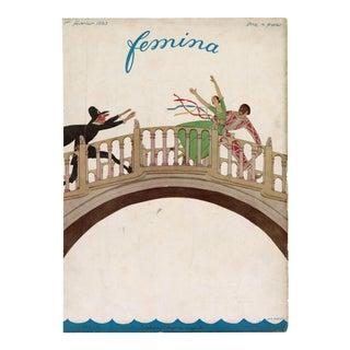 """""""Femina, February 1922"""" Original Vintage French Magazine Cover. Very Rare!! For Sale"""