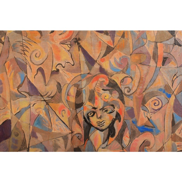 1983 Abstract composition made up of dynamic shapes in bright and muted colors featuring a saintly figure in a hennin hat....