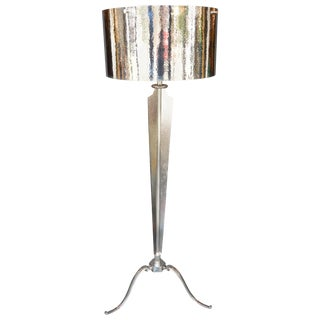 Hammered Nickel-Plated Floor Lamp For Sale