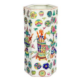 1960's Asian Hexagonal Flower Vase For Sale