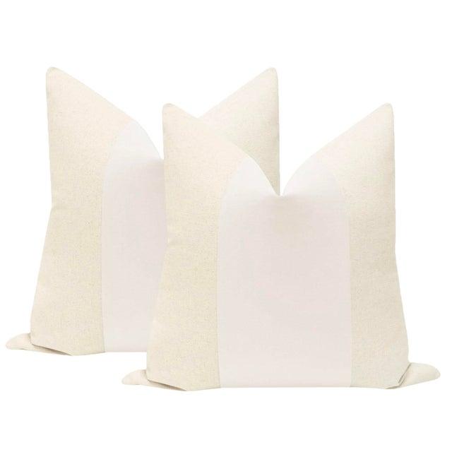 "22"" Alabaster Velvet Panel & Linen Pillows - a Pair For Sale"