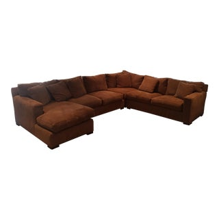 Crate & Barrel Brown Sofa Sectional With Pull Out Queen