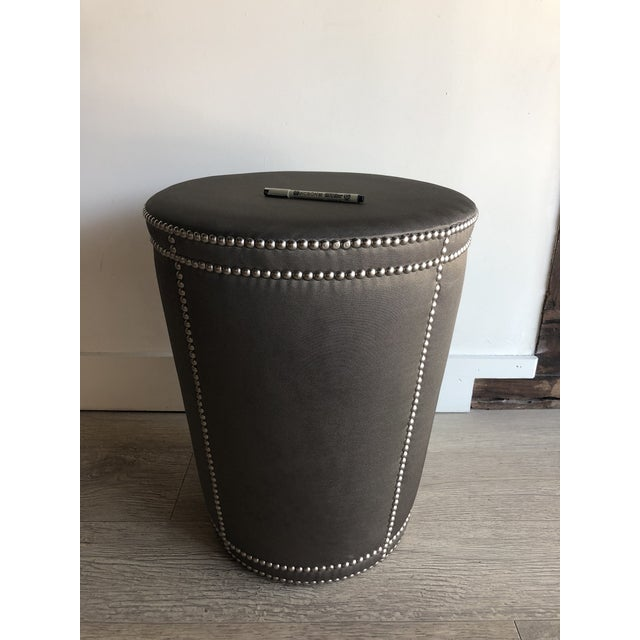 Mid-Century Modern Moire Upholstered Stool With Chrome Nail Heads For Sale - Image 3 of 7