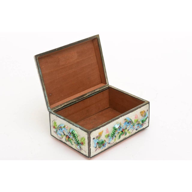 "Copper Vintage Chinese Rare Metal and Enamel ""Good Luck"" Box For Sale - Image 7 of 10"